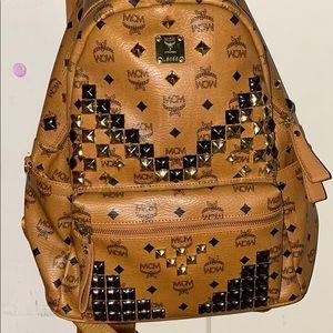 Mcm Stark Studded Cognac backpack medium